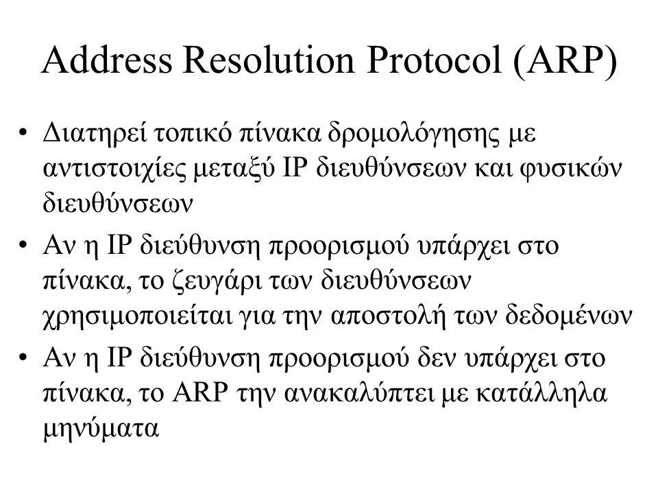 Address Resolution Protocol (ARP) •Διατηρεί τοπικό πίνακα δρομολόγησης με αντιστοιχίες μεταξύ IP διευθύνσεων και φυσικών διευθύνσεων •Αν η IP διεύθυνση προορισμού υπάρχει στο πίνακα, το ζευγάρι των διευθύνσεων χρησιμοποιείται για την αποστολή των δεδομένων •Αν η IP διεύθυνση προορισμού δεν υπάρχει στο πίνακα, το ARP την ανακαλύπτει με κατάλληλα μηνύματα