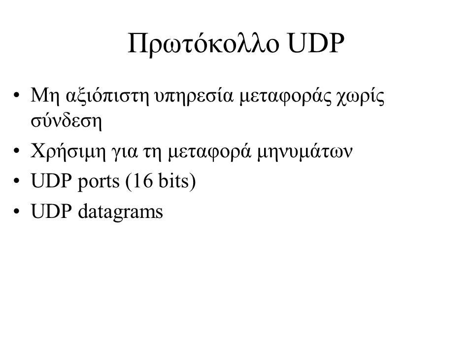 Υπηρεσίες TCP/IP •Remote Login •Mail •Network File Systems •Remote Printing •Remote execution •Name Servers •FTP •World Wide Web
