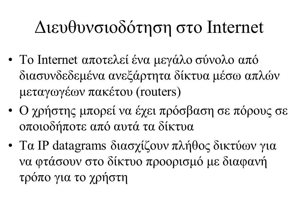 Διευθυνσιοδότηση στο Internet (2) •Το μόνο που πρέπει να γνωρίζει ο χρήστης είναι το IP Address του άλλου συστήματος (λογική διεύθυνση) •IP Address: 147.102.13.10 •32 bit number, γράφεται ως 4 decimals (ένα για κάθε 8 bit) •Το IP Address περιέχει πληροφορίες όπως: 147.102 (δίκτυο), 147.102.13 (υποδίκτυο), το τελευταίο 10 ο σταθμός εργασίας