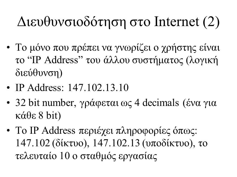 Διευθυνσιοδότηση στο Internet (3) •147.102.13.10, dolly.netmode.ntua.gr •3 κλάσεις IP Addresses, A, B & C Class •Διεύθυνση δικτύου: 147.102.0.0 •Broadcast address: 147.102.13.255 •Loopback address: 127.0.0.1, 127.0.0.0