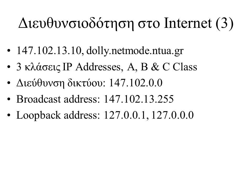 Διευθυνσιοδότηση στο Internet (3) •147.102.13.10, dolly.netmode.ntua.gr •3 κλάσεις IP Addresses, A, B & C Class •Διεύθυνση δικτύου: 147.102.0.0 •Broad