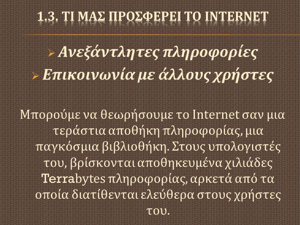  Ανεξάντλητες πληροφορίες  Επικοινωνία με άλλους χρήστες Μπορούμε να θεωρήσουμε το Internet σαν μια τεράστια αποθήκη πληροφορίας, μια παγκόσμια βιβλ