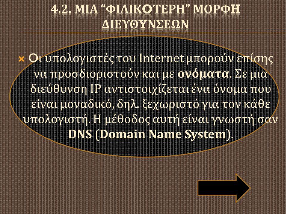  O ι υπολογιστές του Internet μπορούν επίσης να προσδιοριστούν και με ονόματα. Σε μια διεύθυνση IP αντιστοιχίζεται ένα όνομα που είναι μοναδικό, δηλ.