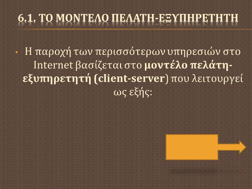 • Η παροχή των περισσότερων υπηρεσιών στο Internet βασίζεται στο μοντέλο πελάτη - εξυπηρετητή (client-server) που λειτουργεί ως εξής :