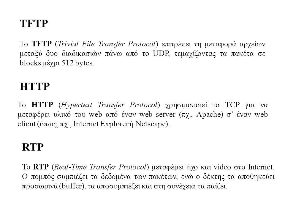 TFTP Το TFTP (Trivial File Transfer Protocol) επιτρέπει τη μεταφορά αρχείων μεταξύ δυο διαδικασιών πάνω από το UDP, τεμαχίζοντας τα πακέτα σε blocks μ