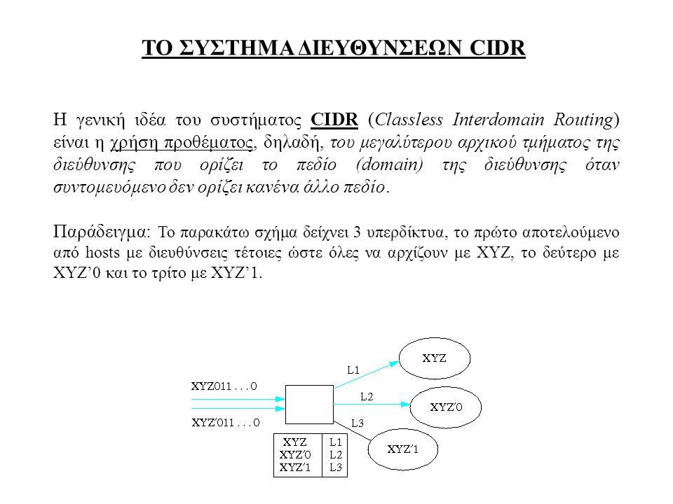 ΤΟ ΣΥΣΤΗΜΑ ΔΙΕΥΘΥΝΣΕΩΝ CIDR Η γενική ιδέα του συστήματος CIDR (Classless Interdomain Routing) είναι η χρήση προθέματος, δηλαδή, του μεγαλύτερου αρχικο