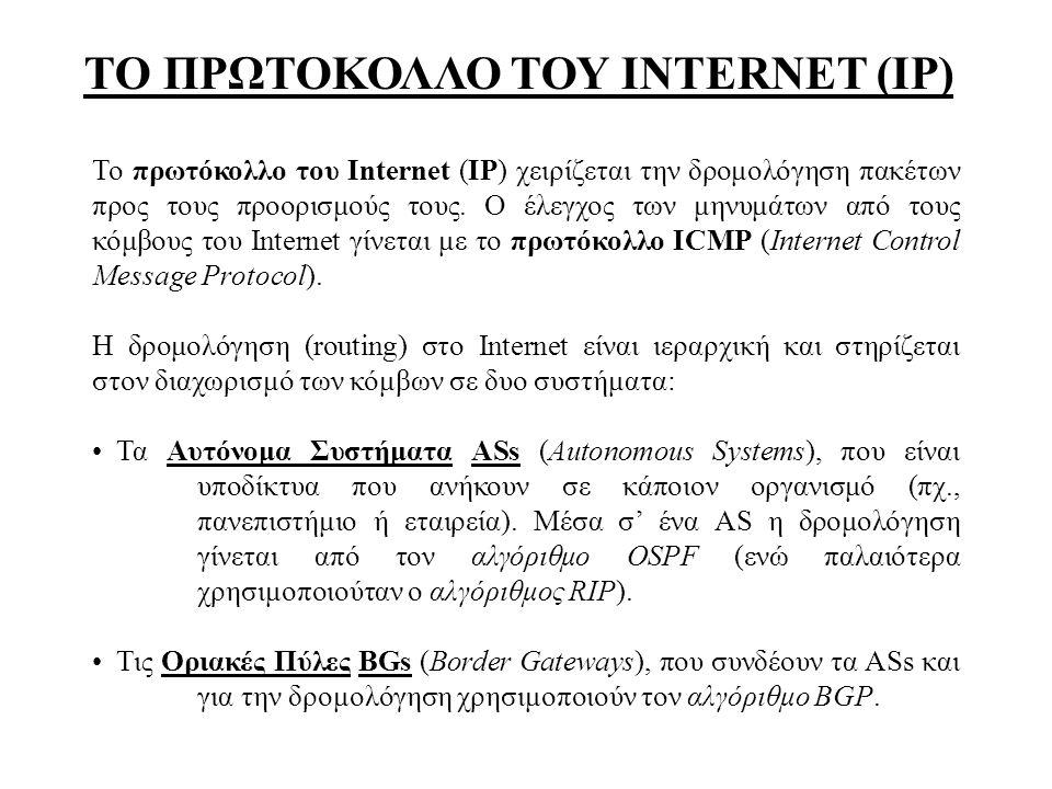 ΤΟ ΠΡΩΤΟΚΟΛΛΟ ΤΟΥ INTERNET (IP) Το πρωτόκολλο του Internet (ΙΡ) χειρίζεται την δρομολόγηση πακέτων προς τους προορισμούς τους. Ο έλεγχος των μηνυμάτων