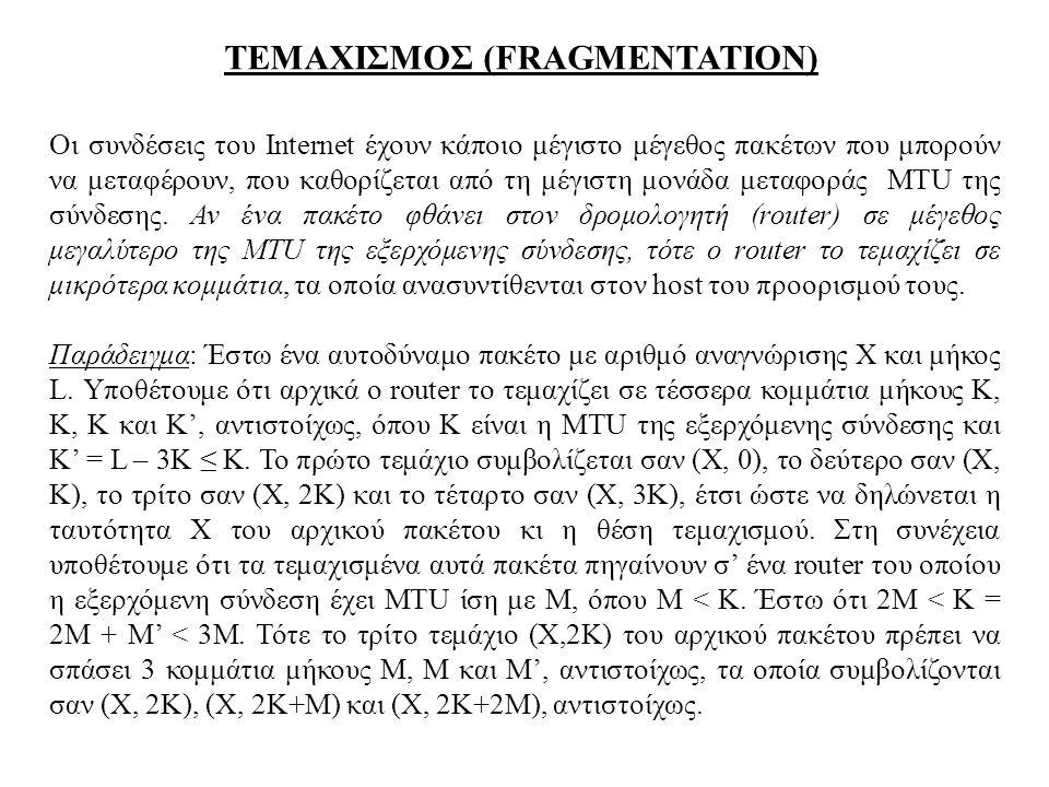 ΤΕΜΑΧΙΣΜΟΣ (FRAGMENTATION) Οι συνδέσεις του Internet έχουν κάποιο μέγιστο μέγεθος πακέτων που μπορούν να μεταφέρουν, που καθορίζεται από τη μέγιστη μο