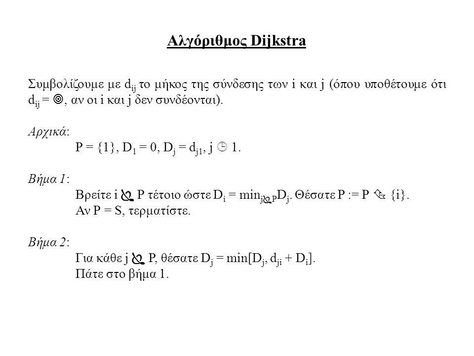 Αλγόριθμος Dijkstra Συμβολίζουμε με d ij το μήκος της σύνδεσης των i και j (όπου υποθέτουμε ότι d ij = , αν οι i και j δεν συνδέονται). Αρχικά: P = {