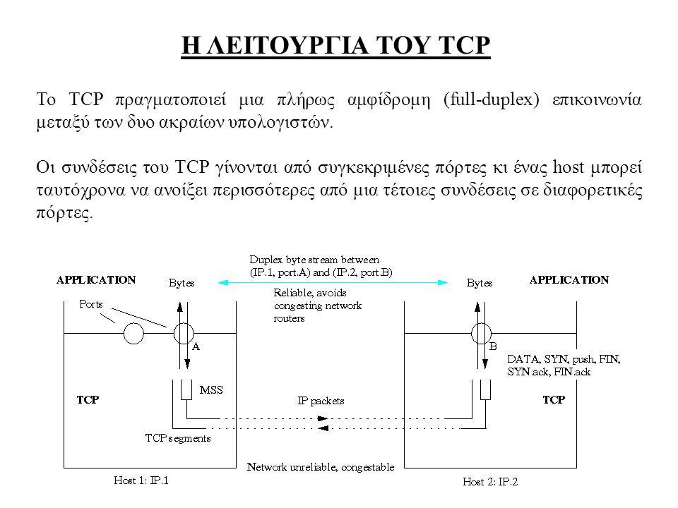 Η ΛΕΙΤΟΥΡΓΙΑ ΤΟΥ TCP Το TCP πραγματοποιεί μια πλήρως αμφίδρομη (full-duplex) επικοινωνία μεταξύ των δυο ακραίων υπολογιστών. Οι συνδέσεις του TCP γίνο