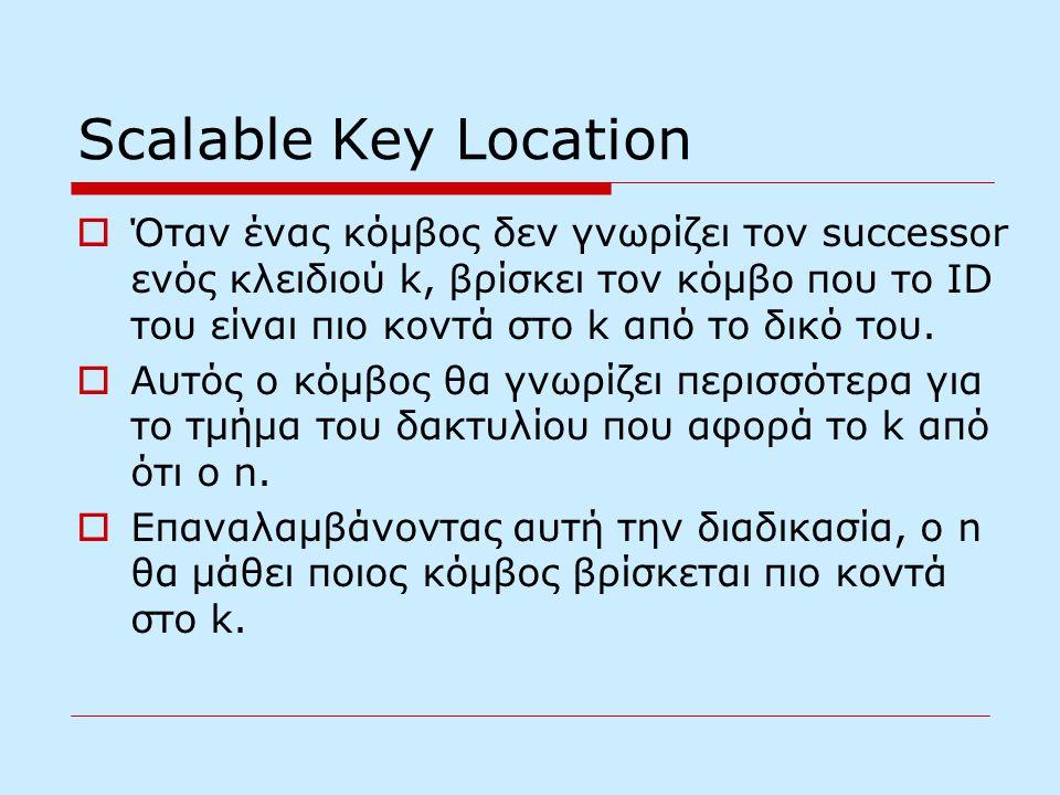 Scalable Key Location  Όταν ένας κόμβος δεν γνωρίζει τον successor ενός κλειδιού k, βρίσκει τον κόμβο που το ID του είναι πιο κοντά στο k από το δικό του.