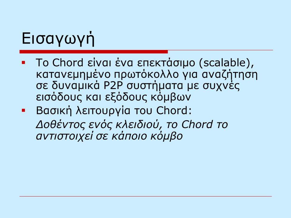 Εισαγωγή  To Chord είναι ένα επεκτάσιμο (scalable), κατανεμημένο πρωτόκολλο για αναζήτηση σε δυναμικά P2P συστήματα με συχνές εισόδους και εξόδους κόμβων  Βασική λειτουργία του Chord: Δοθέντος ενός κλειδιού, το Chord το αντιστοιχεί σε κάποιο κόμβο