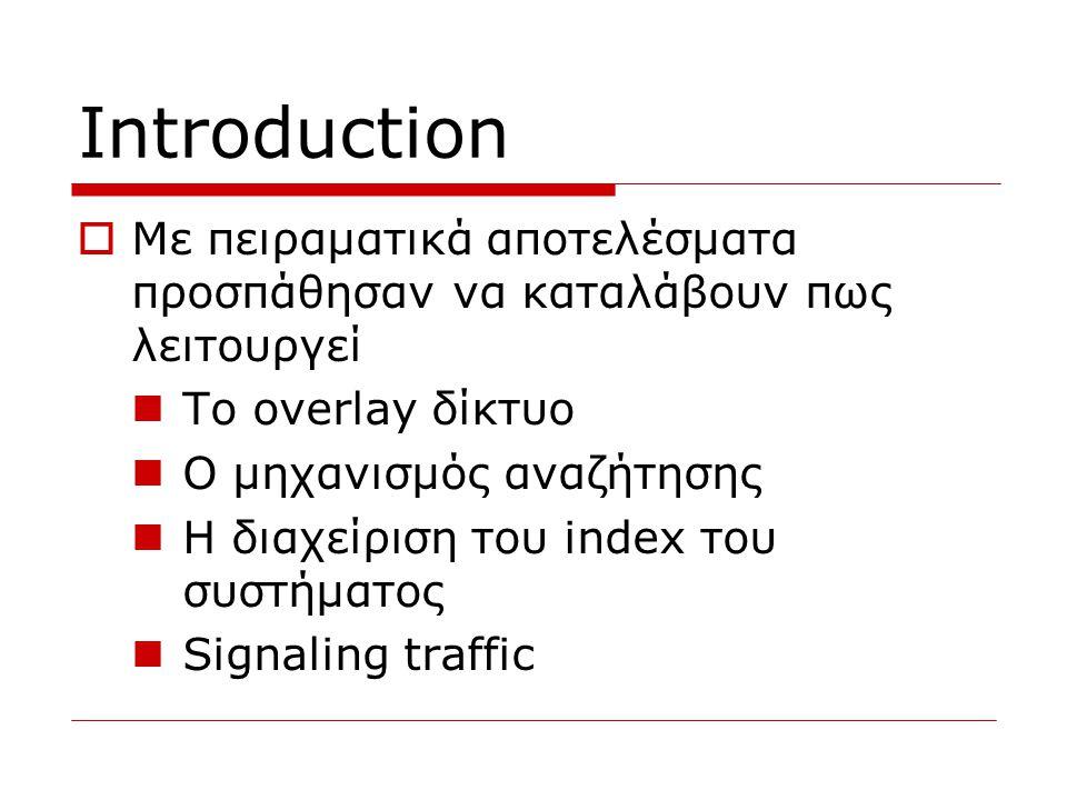 Introduction  Με πειραματικά αποτελέσματα προσπάθησαν να καταλάβουν πως λειτουργεί  Το overlay δίκτυο  Ο μηχανισμός αναζήτησης  Η διαχείριση του i