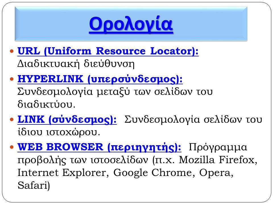 ΟρολογίαΟρολογία  URL (Uniform Resource Locator): Διαδικτυακή διεύθυνση  HYPERLINK (υπερσύνδεσμος): Συνδεσμολογία μεταξύ των σελίδων του διαδικτύου.