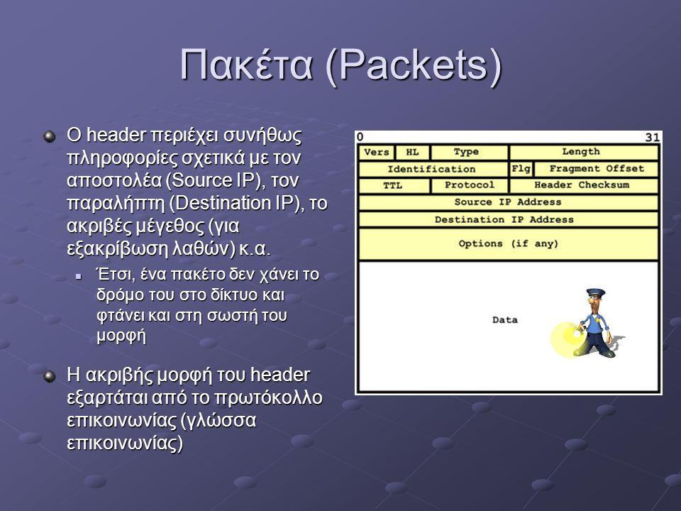 Πακέτα (Packets) O header περιέχει συνήθως πληροφορίες σχετικά με τον αποστολέα (Source IP), τον παραλήπτη (Destination IP), το ακριβές μέγεθος (για εξακρίβωση λαθών) κ.α.