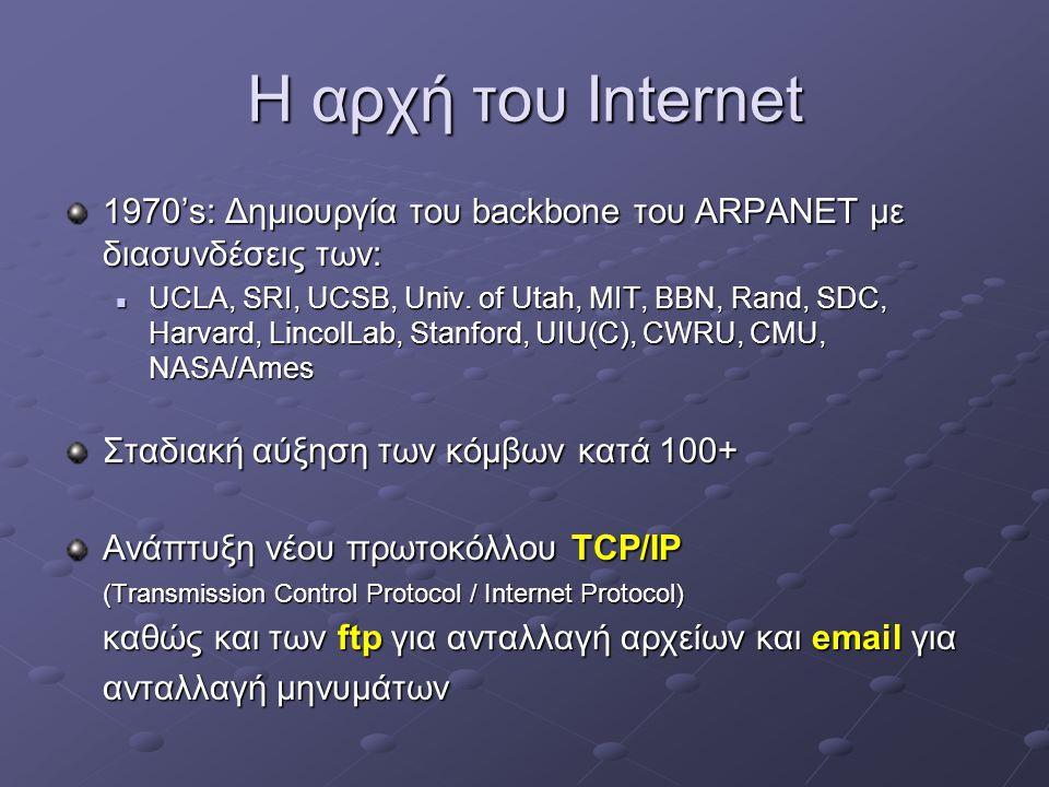 Η αρχή του Internet 1970's: Δημιουργία του backbone του ARPANET με διασυνδέσεις των:  UCLA, SRI, UCSB, Univ.