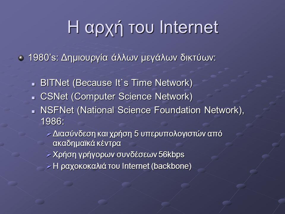 Η αρχή του Internet 1980's: Δημιουργία άλλων μεγάλων δικτύων:  ΒΙΤΝet (Because It`s Time Network)  CSNet (Computer Science Network)  NSFNet (National Science Foundation Network), 1986:  Διασύνδεση και χρήση 5 υπερυπολογιστών από ακαδημαϊκά κέντρα  Χρήση γρήγορων συνδέσεων 56kbps  H ραχοκοκαλιά του Internet (backbone)