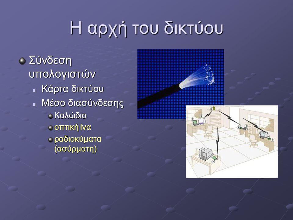 Η αρχή του δικτύου Σύνδεση υπολογιστών  Κάρτα δικτύου  Μέσο διασύνδεσης Καλώδιο οπτική ίνα ραδιοκύματα (ασύρματη)