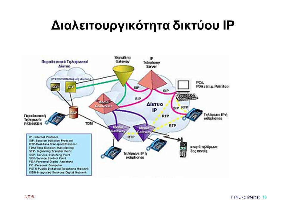 Δ.Π.Θ. HTML και Internet - 16 Διαλειτουργικότητα δικτύου IP