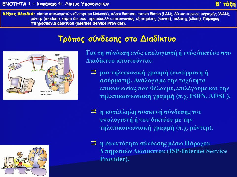 ΕΝΟΤΗΤΑ 1 – Κεφάλαιο 4: Δίκτυα Υπολογιστών Λέξεις Κλειδιά: Δίκτυο υπολογιστών (Computer Network), πόροι δικτύου, τοπικό δίκτυο (LAN), δίκτυο ευρείας π