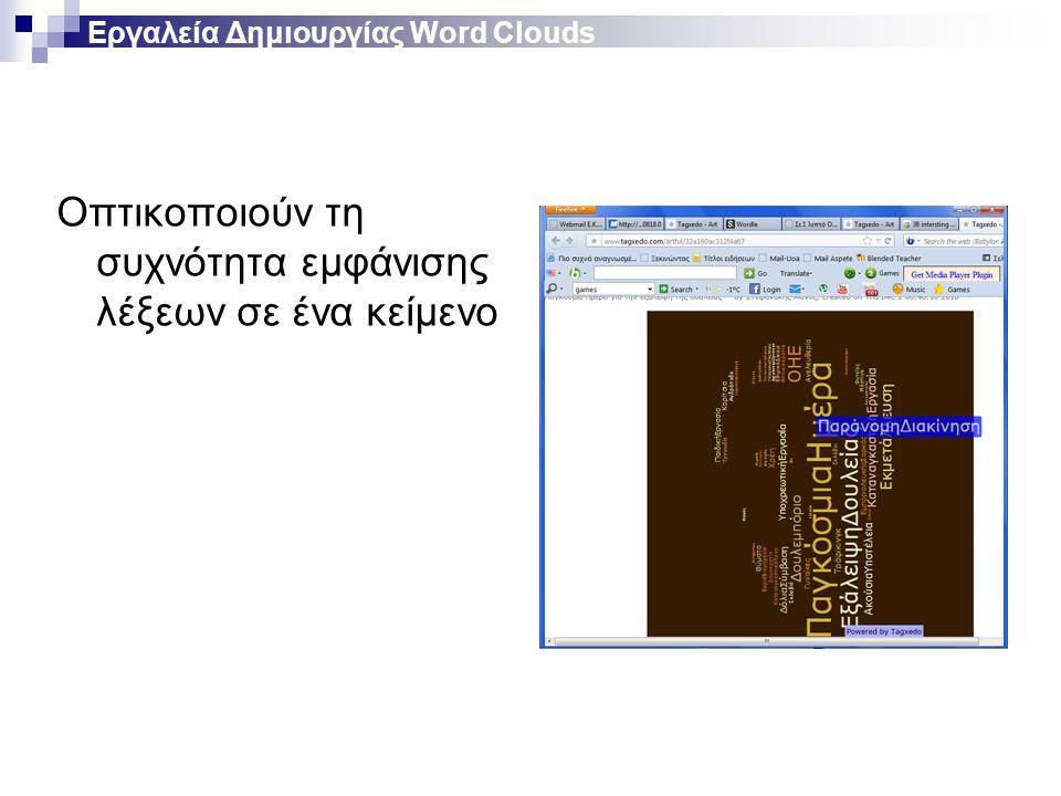 Εργαλεία Δημιουργίας Word Clouds Οπτικοποιούν τη συχνότητα εμφάνισης λέξεων σε ένα κείμενο