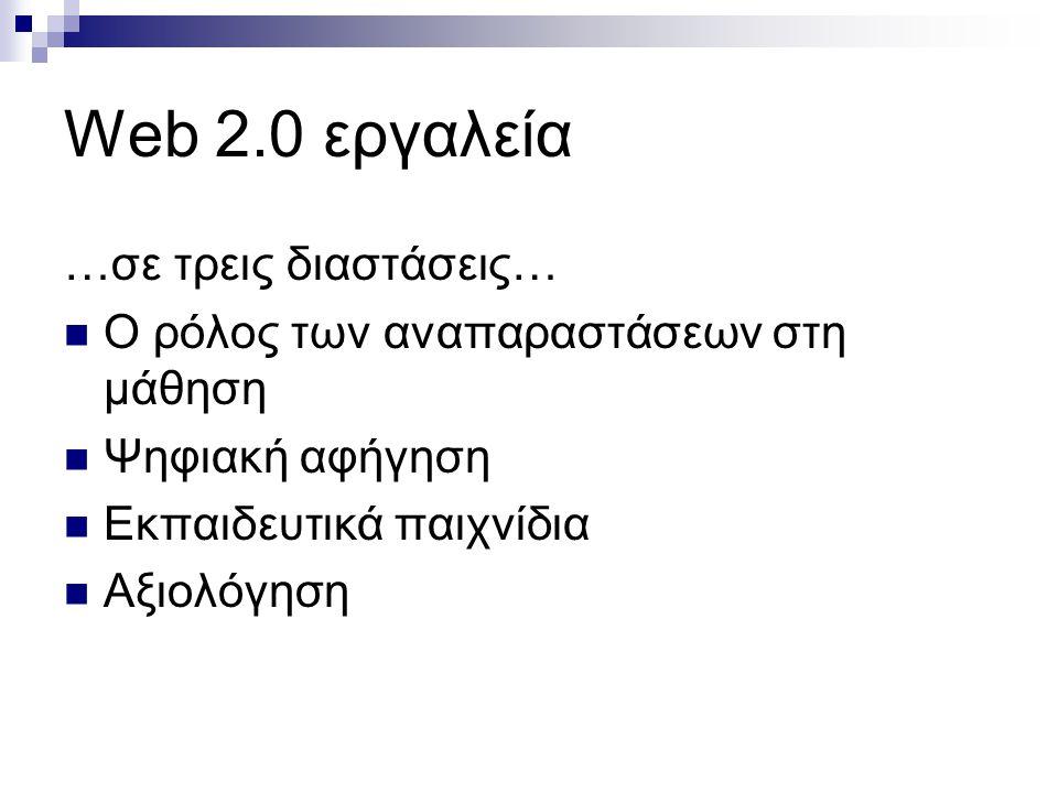 Web 2.0 εργαλεία …σε τρεις διαστάσεις…  O ρόλος των αναπαραστάσεων στη μάθηση  Ψηφιακή αφήγηση  Εκπαιδευτικά παιχνίδια  Αξιολόγηση