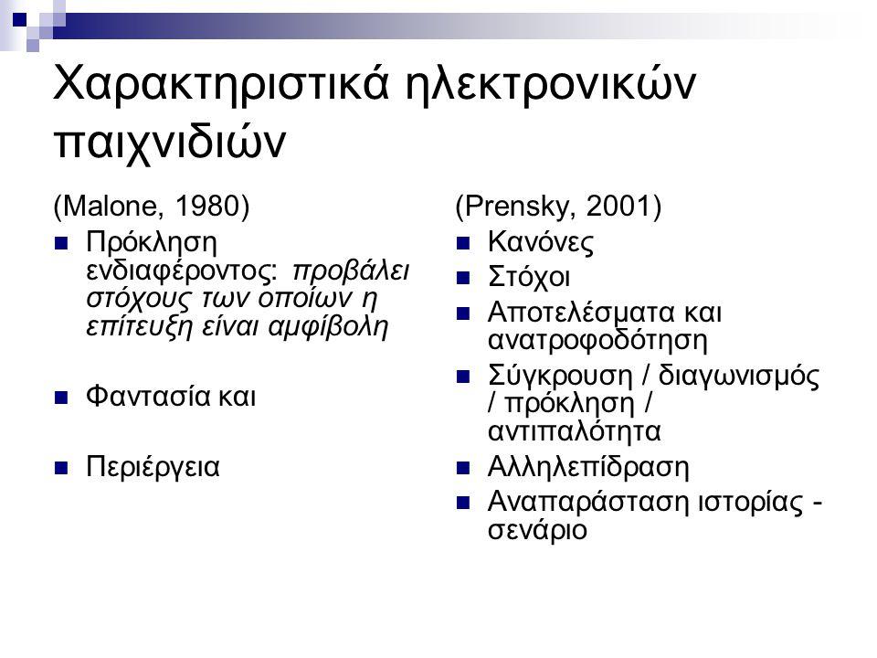 Χαρακτηριστικά ηλεκτρονικών παιχνιδιών (Malone, 1980)  Πρόκληση ενδιαφέροντος: προβάλει στόχους των οποίων η επίτευξη είναι αμφίβολη  Φαντασία και 