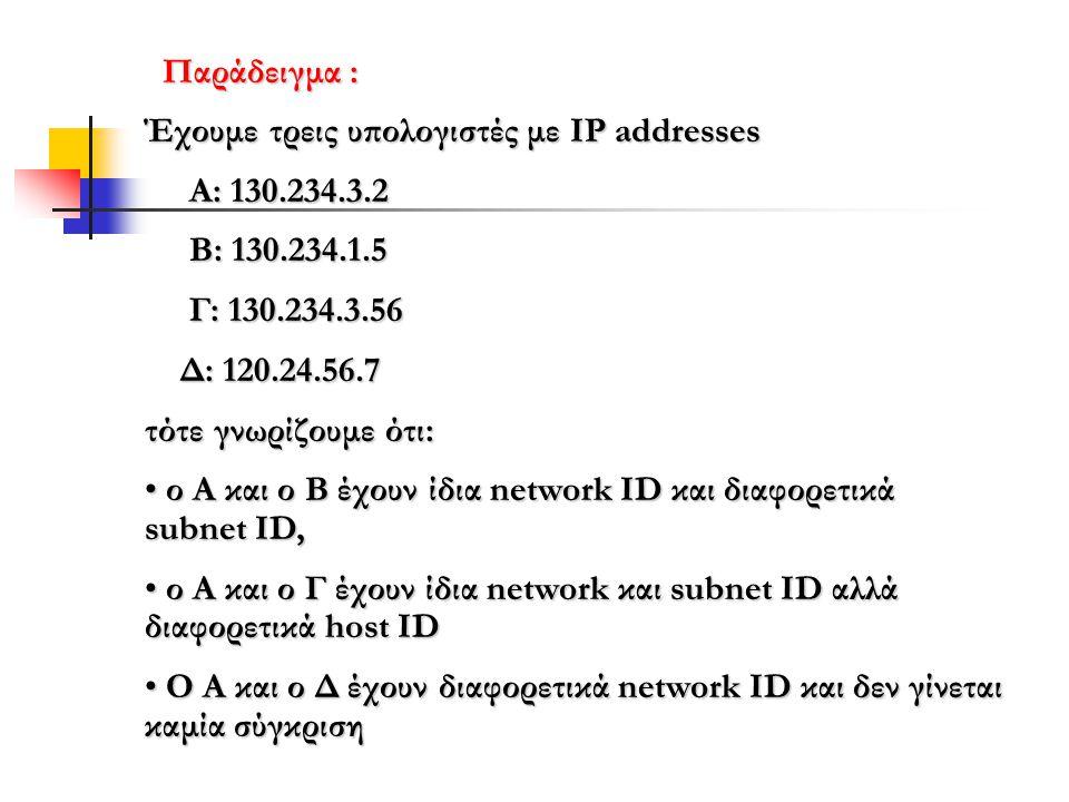 Παράδειγμα : Έχουμε τρεις υπολογιστές με IP addresses Α: 130.234.3.2 Α: 130.234.3.2 Β: 130.234.1.5 Β: 130.234.1.5 Γ: 130.234.3.56 Γ: 130.234.3.56 Δ: 120.24.56.7 Δ: 120.24.56.7 τότε γνωρίζουμε ότι: • ο Α και ο Β έχουν ίδια network ID και διαφορετικά subnet ID, • ο Α και ο Γ έχουν ίδια network και subnet ID αλλά διαφορετικά host ID • O Α και ο Δ έχουν διαφορετικά network ID και δεν γίνεται καμία σύγκριση