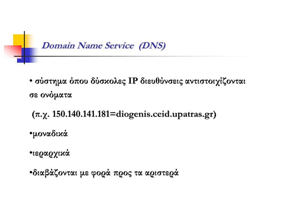 Domain Name Service (DNS) • σύστημα όπου δύσκολες IP διευθύνσεις αντιστοιχίζονται σε ονόματα (π.χ. 150.140.141.181=diogenis.ceid.upatras.gr) (π.χ. 150