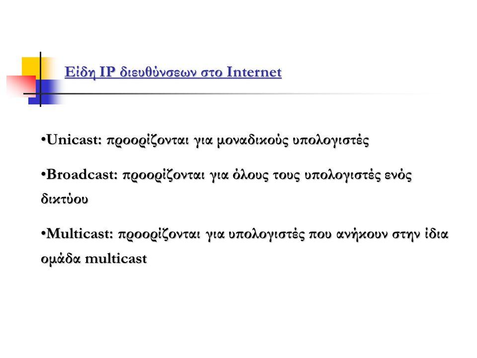 Είδη IP διευθύνσεων στο Internet •Unicast: προορίζονται για μοναδικούς υπολογιστές •Broadcast: προορίζονται για όλους τους υπολογιστές ενός δικτύου •Multicast: προορίζονται για υπολογιστές που ανήκουν στην ίδια ομάδα multicast
