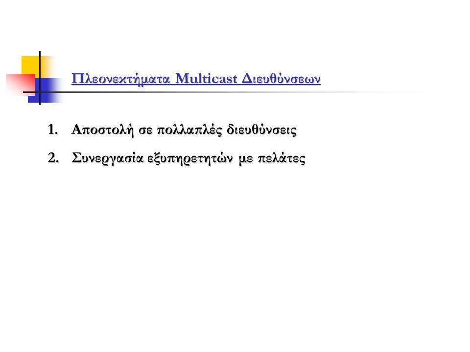 Πλεονεκτήματα Multicast Διευθύνσεων 1.Αποστολή σε πολλαπλές διευθύνσεις 2.Συνεργασία εξυπηρετητών με πελάτες