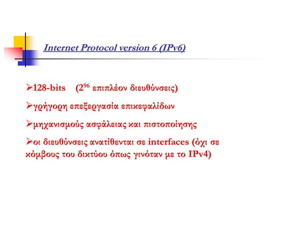 Internet Protocol version 6 (IPv6)  128-bits (2 96 επιπλέον διευθύνσεις)  γρήγορη επεξεργασία επικεφαλίδων  μηχανισμούς ασφάλειας και πιστοποίησης  οι διευθύνσεις ανατίθενται σε interfaces (όχι σε κόμβους του δικτύου όπως γινόταν με το IPv4)