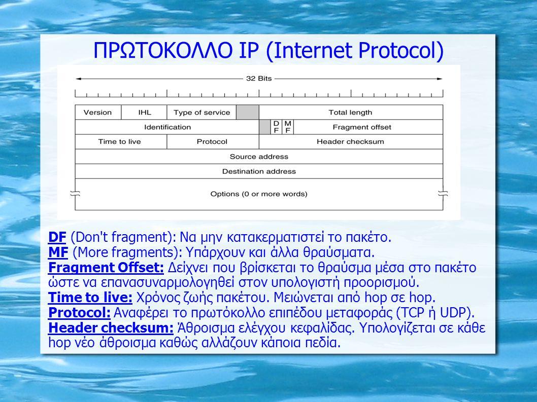 ΠΡΩΤΟΚΟΛΛΟ IP (Internet Protocol) DF (Don't fragment): Nα μην κατακερματιστεί το πακέτο. ΜF (More fragments): Υπάρχουν και άλλα θραύσματα. Fragment Of