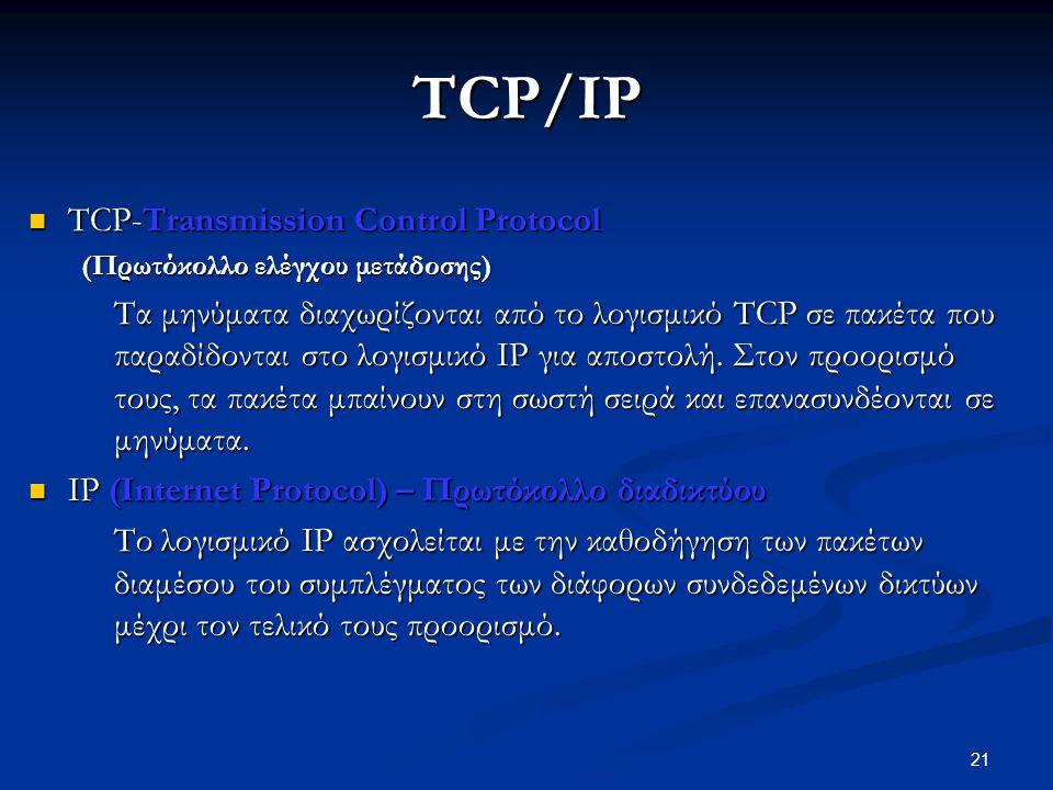 21 TCP/IP  TCP-Transmission Control Protocol (Πρωτόκολλο ελέγχου μετάδοσης) Τα μηνύματα διαχωρίζονται από το λογισμικό TCP σε πακέτα που παραδίδονται στο λογισμικό IP για αποστολή.