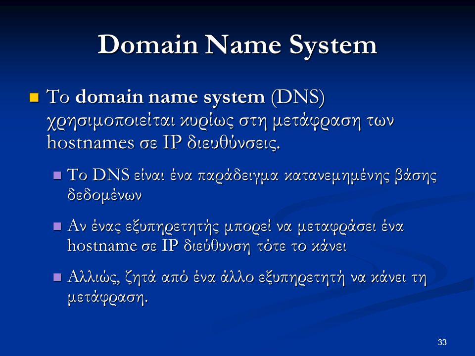 33 Domain Name System  Το domain name system (DNS) χρησιμοποιείται κυρίως στη μετάφραση των hostnames σε IP διευθύνσεις.