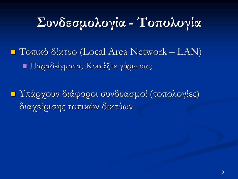 8 Συνδεσμολογία - Τοπολογία  Τοπικό δίκτυο (Local Area Network – LAN)  Παραδείγματα; Κοιτάξτε γύρω σας  Υπάρχουν διάφοροι συνδυασμοί (τοπολογίες) διαχείρισης τοπικών δικτύων