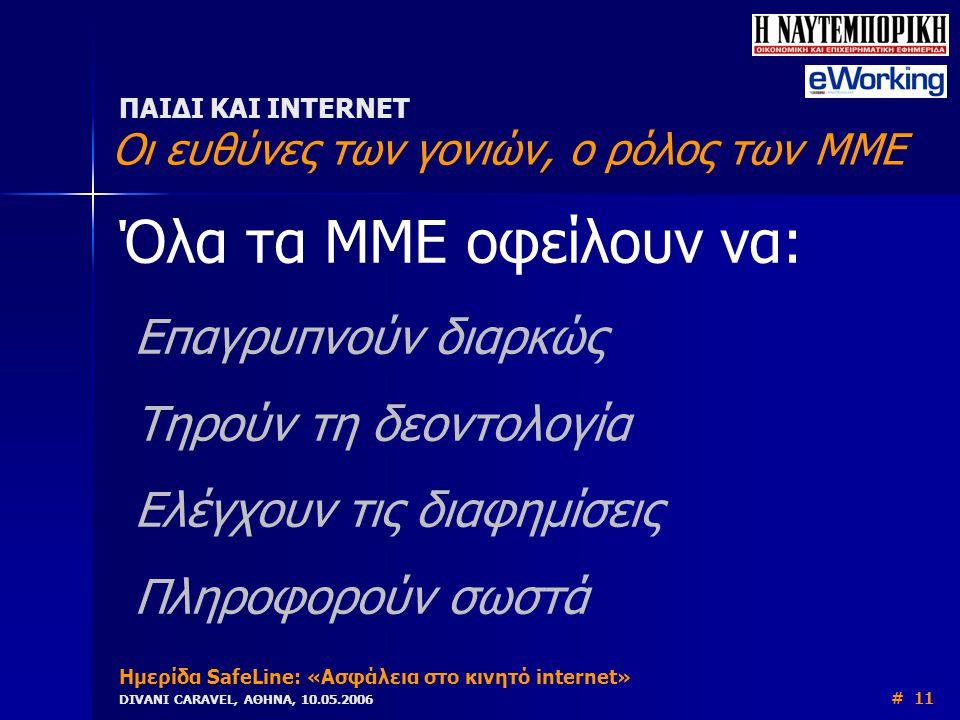 Όλα τα ΜΜΕ οφείλουν να: Επαγρυπνούν διαρκώς Τηρούν τη δεοντολογία Ελέγχουν τις διαφημίσεις Πληροφορούν σωστά ΠΑΙΔΙ ΚΑΙ INTERNET Οι ευθύνες των γονιών, ο ρόλος των ΜΜΕ Ημερίδα SafeLine: «Ασφάλεια στο κινητό internet» DIVANI CARAVEL, ΑΘΗΝΑ, 10.05.2006 # 11