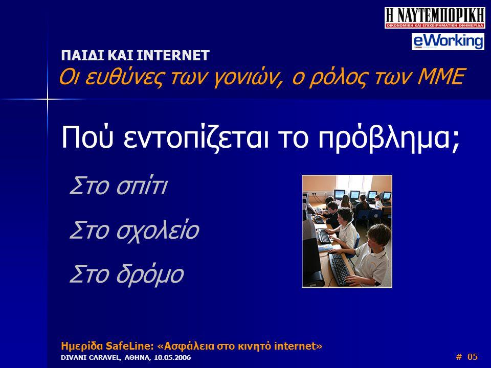 Πού εντοπίζεται το πρόβλημα; Στο σπίτι Στο σχολείο Στο δρόμο ΠΑΙΔΙ ΚΑΙ INTERNET Οι ευθύνες των γονιών, ο ρόλος των ΜΜΕ Ημερίδα SafeLine: «Ασφάλεια στο κινητό internet» DIVANI CARAVEL, ΑΘΗΝΑ, 10.05.2006 # 05