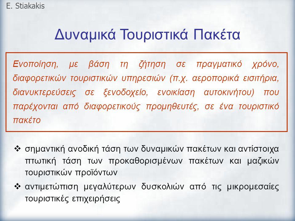 Δυναμικά Τουριστικά Πακέτα E. Stiakakis Ενοποίηση, με βάση τη ζήτηση σε πραγματικό χρόνο, διαφορετικών τουριστικών υπηρεσιών (π.χ. αεροπορικά εισιτήρι