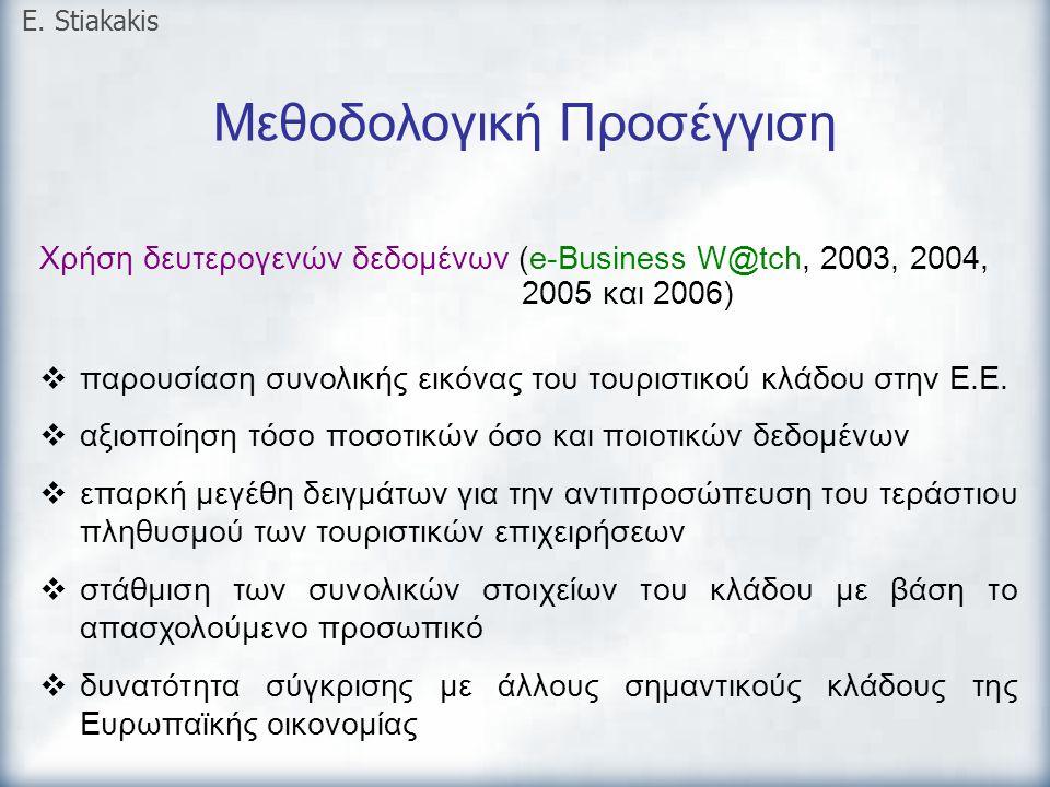 Μεθοδολογική Προσέγγιση E. Stiakakis Χρήση δευτερογενών δεδομένων (e-Business W@tch, 2003, 2004, 2005 και 2006)  παρουσίαση συνολικής εικόνας του του