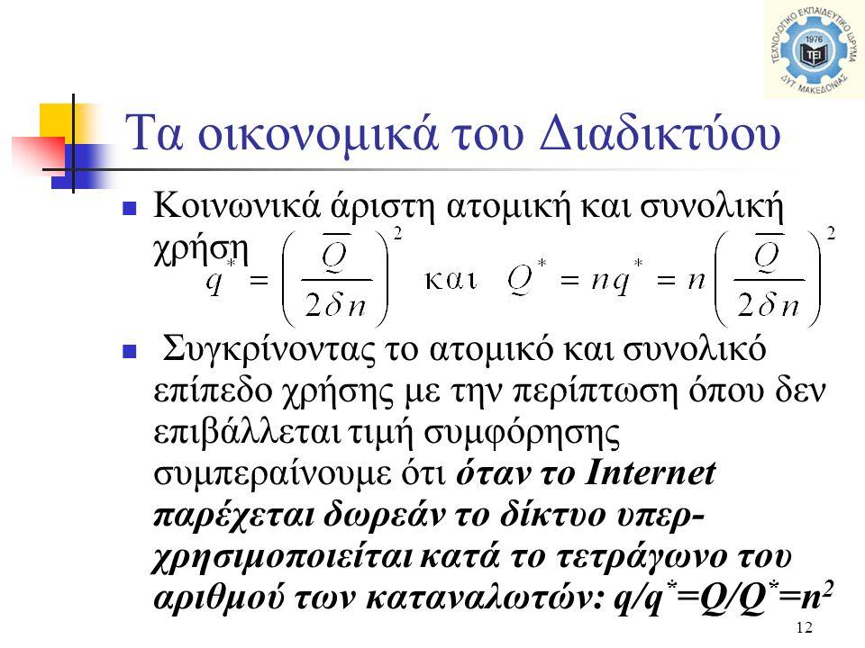 12  Κοινωνικά άριστη ατομική και συνολική χρήση  Συγκρίνοντας το ατομικό και συνολικό επίπεδο χρήσης με την περίπτωση όπου δεν επιβάλλεται τιμή συμφόρησης συμπεραίνουμε ότι όταν το Internet παρέχεται δωρεάν το δίκτυο υπερ- χρησιμοποιείται κατά το τετράγωνο του αριθμού των καταναλωτών: q/q * =Q/Q * =n 2 Τα οικονομικά του Διαδικτύου