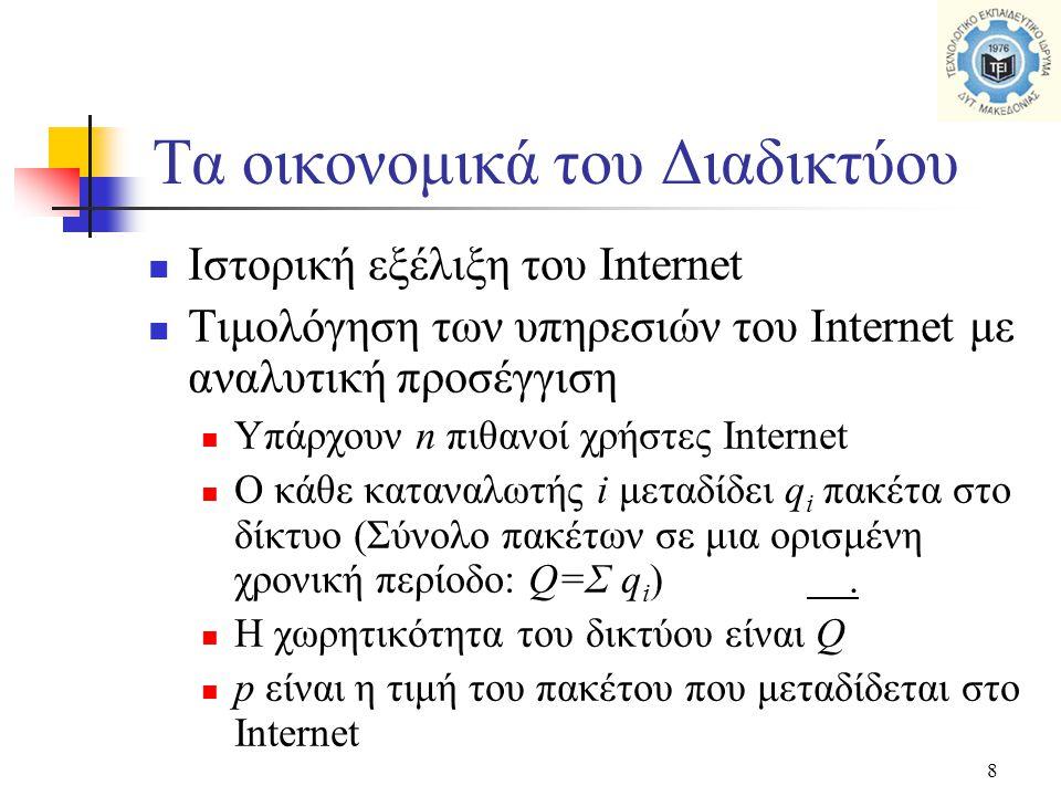 8  Ιστορική εξέλιξη του Internet  Τιμολόγηση των υπηρεσιών του Internet με αναλυτική προσέγγιση  Υπάρχουν n πιθανοί χρήστες Internet  Ο κάθε καταναλωτής i μεταδίδει q i πακέτα στο δίκτυο (Σύνολο πακέτων σε μια ορισμένη χρονική περίοδο: Q=Σ q i ).