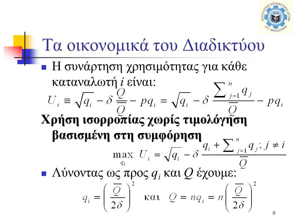 9  Η συνάρτηση χρησιμότητας για κάθε καταναλωτή i είναι: Χρήση ισορροπίας χωρίς τιμολόγηση βασισμένη στη συμφόρηση  Λύνοντας ως προς q i και Q έχουμ