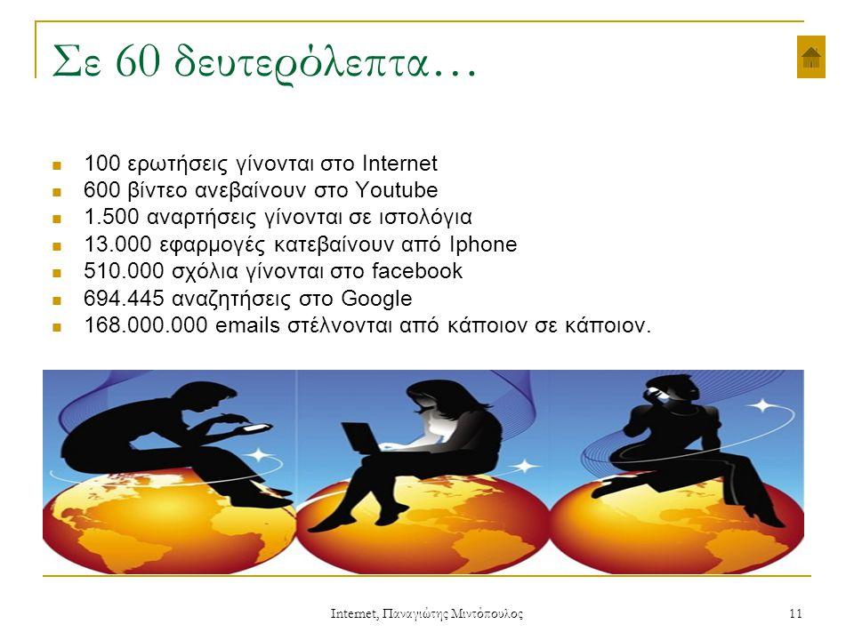 Internet, Παναγιώτης Μιντόπουλος 11 Σε 60 δευτερόλεπτα…  100 ερωτήσεις γίνονται στο Internet  600 βίντεο ανεβαίνουν στο Youtube  1.500 αναρτήσεις γίνονται σε ιστολόγια  13.000 εφαρμογές κατεβαίνουν από Iphone  510.000 σχόλια γίνονται στο facebook  694.445 αναζητήσεις στο Google  168.000.000 emails στέλνονται από κάποιον σε κάποιον.