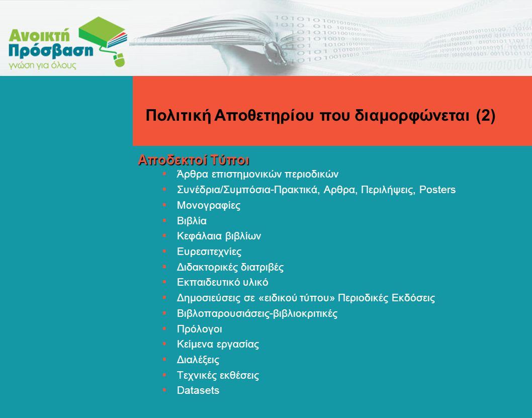 Αποδεκτοί Τύποι  Άρθρα επιστημονικών περιοδικών  Συνέδρια/Συμπόσια-Πρακτικά, Αρθρα, Περιλήψεις, Posters  Μονογραφίες  Βιβλία  Κεφάλαια βιβλίων  Ευρεσιτεχνίες  Διδακτορικές διατριβές  Εκπαιδευτικό υλικό  Δημοσιεύσεις σε «ειδικού τύπου» Περιοδικές Εκδόσεις  Βιβλοπαρουσιάσεις-βιβλιοκριτικές  Πρόλογοι  Κείμενα εργασίας  Διαλέξεις  Τεχνικές εκθέσεις  Datasets Πολιτική Αποθετηρίου που διαμορφώνεται (2)
