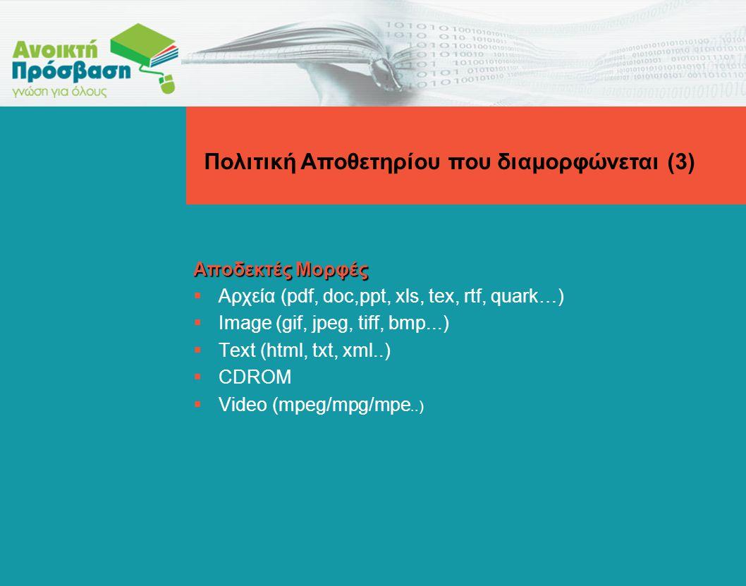 Αποδεκτές Μορφές  Αρχεία (pdf, doc,ppt, xls, tex, rtf, quark…)  Image (gif, jpeg, tiff, bmp...)  Text (html, txt, xml..)  CDROM  Video (mpeg/mpg/