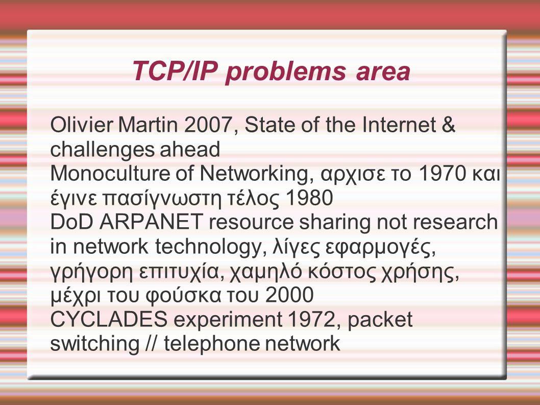 TCP/IP problems area (2) Τέλος 80 ST-II RC 1190 streaming protocol put pressure on Best Effort quality of service, solution = extra capacity No security mechanisms, myth No support for resiliency, myth IMP ID addressing kept in Ipv6 Not like CYCLADES, DECNET, XNS, OSI addressing --- μοιάζει με κάθε σπίτι να έχει για δ/ση την σειρά κατασκευής του IETF Ipv6: εμπορική επιτυχία = τεχνική