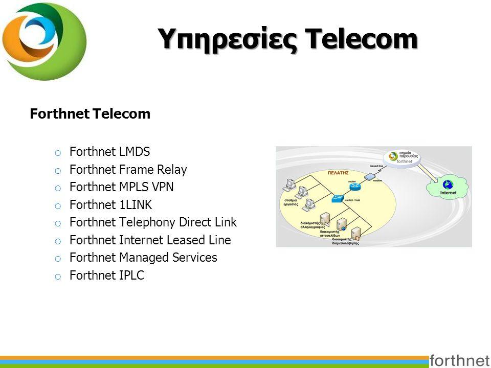 Υπηρεσίες Telecom Forthnet Telecom o Forthnet LMDS o Forthnet Frame Relay o Forthnet MPLS VPN o Forthnet 1LINK o Forthnet Telephony Direct Link o Forthnet Internet Leased Line o Forthnet Managed Services o Forthnet IPLC