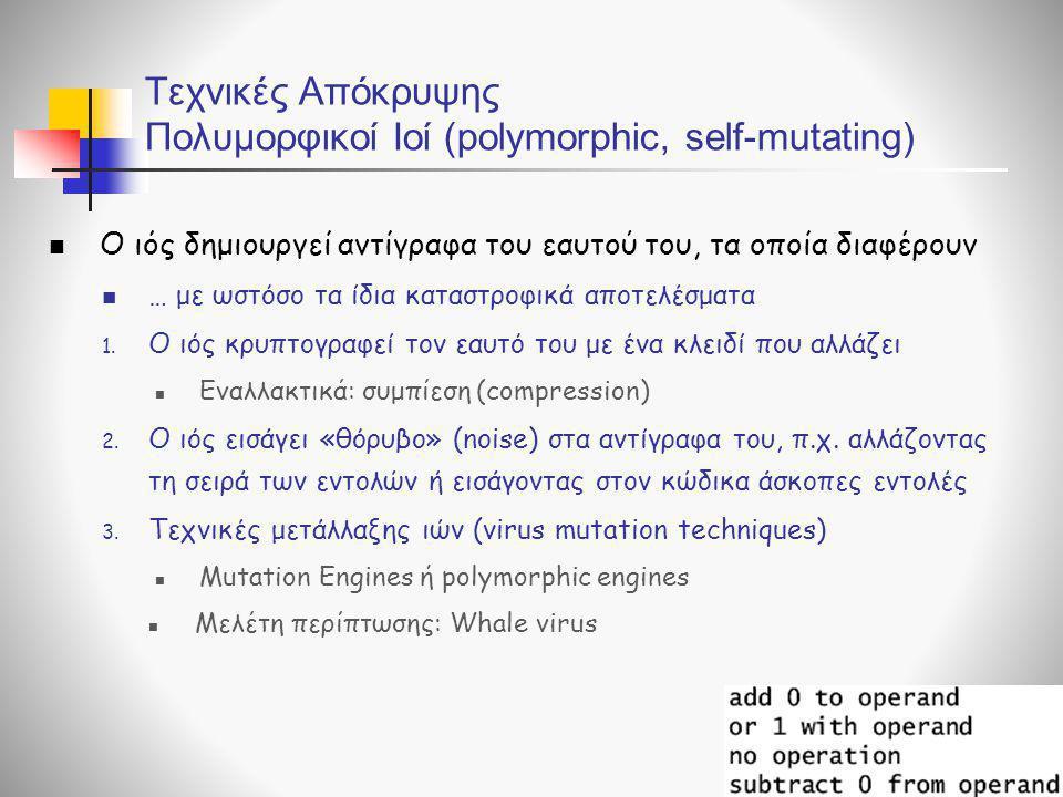 Τεχνικές Απόκρυψης Πολυμορφικοί Ιοί (polymorphic, self-mutating)  Ο ιός δημιουργεί αντίγραφα του εαυτού του, τα οποία διαφέρουν  … με ωστόσο τα ίδια