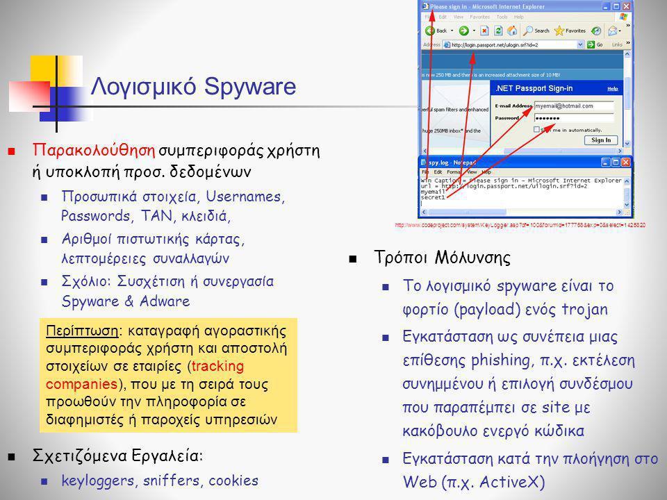 Λογισμικό Spyware  Παρακολούθηση συμπεριφοράς χρήστη ή υποκλοπή προσ. δεδομένων  Προσωπικά στοιχεία, Usernames, Passwords, TAN, κλειδιά,  Aριθμοί π
